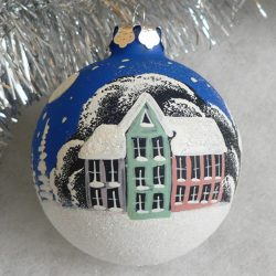 "Ornament ""Town"", latex paint on 2,5"" glass bulb"