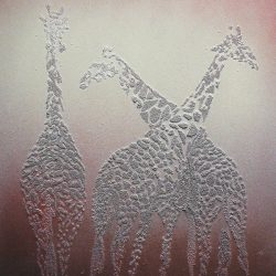 "giraffes. sand on hardboard, spray paint. 18""x 24"""
