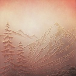"mountains. sand on hardboard, spray paint. 26""x 26"""